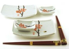 Red plum sushi set.  Great not only for sushi, but salads, appetizers, candles and more.