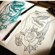 Raptor dinosaur tattoo Head Tattoos, Mini Tattoos, Black Tattoos, Body Art Tattoos, Small Tattoos, Dinosaur Drawing, Dinosaur Art, 1 Tattoo, Tattoo Drawings