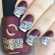 Hand painted lace nail art