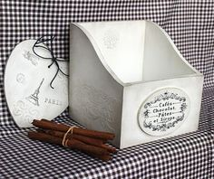 """Короб для пряностей """"cafе, chocolat""""(ящик для хранения, декупаж) - белый"""