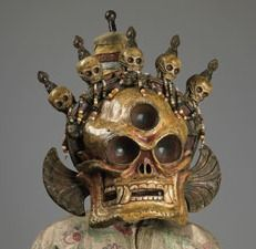 """A Cittipatti skull mask and costume from 19th-century Mongolia, part of """"Remember That You Will Die: Death Across Cultures"""" at the Rubin Museum 2010"""