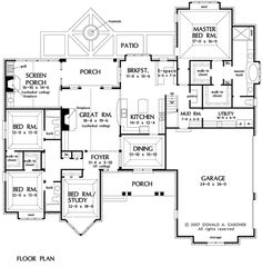 Ground Floor, Plan B - i really like the layout.  The bedrooms and bathroom downstairs, the master suite set-up, the size and layout of the garage.  I'd want the upstairs to have an additional bedroom and bathroom as opposed to just a bonus room.