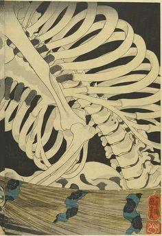 歌川国芳 UTAGAWA Kuniyoshi「相馬の古内裏」The Ruins of Sōma Palace, Takiyasha the Witch and the Skeleton Spectre, Right side. Skeleton Drawings, Art Drawings, Kuniyoshi, Edo Period, Triptych, Teaching Art, Woodblock Print, Erotic Art, Art Education