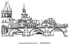 Hand drawn ink line sketch European city Prague ,Czech Republic with buildings, roofs, bridge in outline style perspective view. Postcard Design, Illustration, City Sketch, Travel Book, Line Sketch, Ink, How To Draw Hands, Scene, Building Art