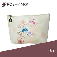 Cute Owl Beige Small Cosmetic Cute Owl Beige Small Cosmetic Bag Zip Top Closure. Lined Inside. Length - 7.75 Width - 1.2 Height - 1.2 Polyurethane Lead & Nickel Compliant Brand New Ashley Collection Bags Cosmetic Bags & Cases