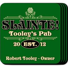 """WeddingDepot.com ~ Personalized Coaster Set - Slainte ~ Personalized design is printed in full color onto a non-skid cork base.  Each coaster measures 3 3/4"""" x 3 3/4""""."""