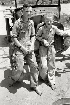 """Washed Up: June 1939. Muskogee County, Oklahoma. """"Near Webbers Falls. Sons of agricultural day laborer after washing up for dinner."""" 35mm nitrate negat..."""