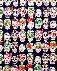 Gotas De Amor Eggplant - Alexander Henry Fabric Per Metre Frida Kahlo Mexican Laminated Cotton Fabric, Printed Cotton, Stoff Online Shop, Decoupage, Mexican Fabric, Alexander Henry Fabrics, Day Of The Dead Skull, Shops, Cotton Quilts