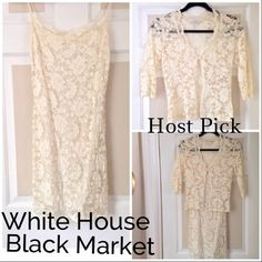 White House Black Market lace outfit Reduced Absolutely beautiful spaghetti strap lace dress with lace jacket. Great together or separate. Only worn once! Great condition! You will look amazing! Wardrobe essentials Host Pick x2 White House Black Market Dresses