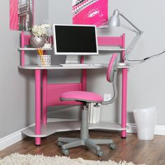 Cute White Color Scheme Kids Girls Study Space Design with Pink Study Desk Ideas and Unique Silver Table Lamp Design Lighting also Wooden Floor Design for Corner Study Space Design Ideas