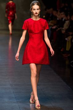 Red dress from Dolce & Gabbana - Fall Winter 2013 - 2014