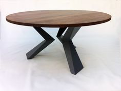 "Modern 60"" Round Bird Leg Dining Table Seats 8 - Contemporary Lines - Solid Walnut w/ Steel Legs"