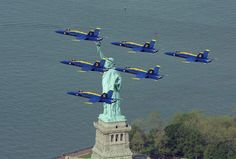 Two US Navy Blue Angels jets are seen from Liberty State Park as they flew over the Statue of Liberty. Military Jets, Military Aircraft, Us Navy Blue Angels, Blue Angels Air Show, Jones Beach, Land Of The Free, Happy Memorial Day, United States Navy, New York