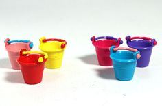 画像1: カラーバケツ6個セット  600円   miniature 直径18mm×H19mm プラスチック製