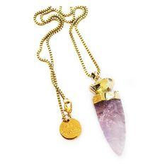 Glow Necklace Amethyst ($60) ❤ liked on Polyvore featuring jewelry, necklaces, chunky jewelry, amethyst pendant, chunky necklaces, chunky amethyst necklace and amethyst pendant necklace