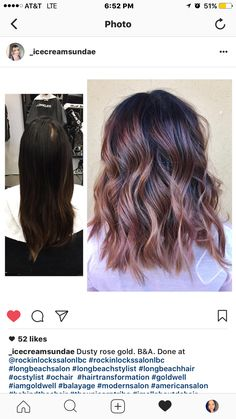 Before and after transformation on with a dusty rose gold balayage by - Garden wedding - Cheveux Rose Gold Balayage Brunettes, Balayage Brunette Short, Auburn Hair Balayage, Rose Gold Bayalage, Beach Hairstyles For Long Hair, Party Hairstyles, Hairdos, Rose Gold Hair Brunette, Dusty Rose Hair