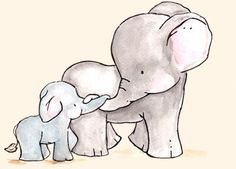 Sweet elephant watercolor...Rosalie NEEDS this...by ohhellodear on Etsy