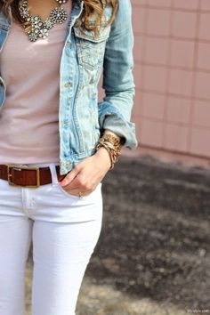 White jeans, pink top, brown belt & jean jacket