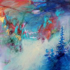 """Original Abstract Landscape Painting """"Mountain Flute Song"""""""