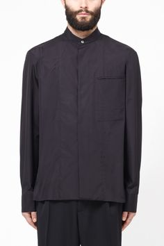 baba93f7c393 Haider Ackermann Collarless Shirt (Black) Haider Ackermann