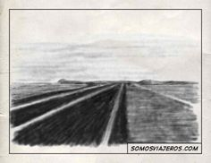 Dibujo a lápiz de carretera a Marken en Holanda
