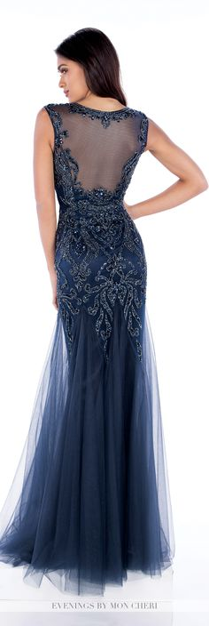 Formal Evening Gowns by Mon Cheri - Fall 2016 - Style No. MCE21627 - navy blue evening dress with hand beaded bodice and waist and illusion back