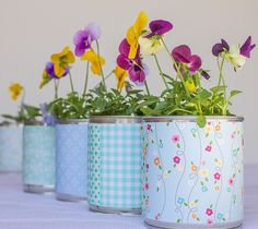 . Recycled Crafts, Tins, Planter Pots, Recycling, Jar, Garden, Packaging, Handmade Crafts, Ideas