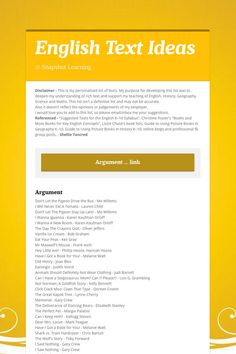 English  Text Ideas