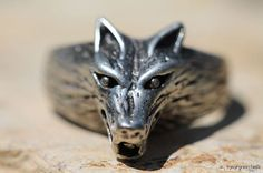 Vintage 925 Sterling Silver 3D Textured Wolf Werewolf Dog Ring