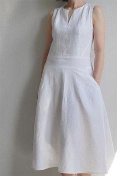 white linen dress for women, summer sleeveless linen dress – RENZ TAILOR Source by iboocheeky White Dresses Girls White Dress, White Linen Dresses, Cotton Dresses, Simple Dresses, Casual Dresses, Summer Dresses, Casual Outfits, Formal Dresses, Linen Dress Pattern