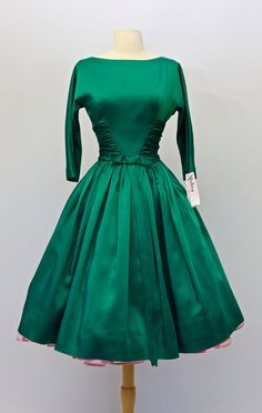 Vintage 1950s Emerald Green Party Dress by Jonathan Logan ~ Vintage 50s Green Satin Cocktail Dress by xtabayvintage