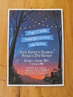 Woodland Party Invitation: Stars, fireflies, & twinkle lights