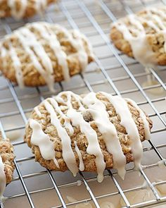 Iced Oatmeal-Applesauce Cookies. So good! Make half the icing, its way too much.