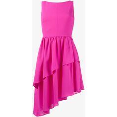 Osman Sleeveless Asymmetric Wool Dress (5,405 GTQ) ❤ liked on Polyvore featuring dresses, sleeveless dress, fuchsia pink dress, asymmetrical dress, tiered dress and asymmetrical hem dress