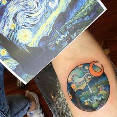 Another Great Piece. With the vibrant colors and amazing texture, this tattoo inspired by the Van Gogh's artwork is worth a shot.