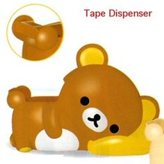 "~ 4"" long desktop tape dispenser in the shape of Relax Bear.  Very Cute!"