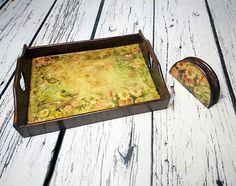 READY TO SHIP Retro style wooden tray napkin by MKedraHandmade