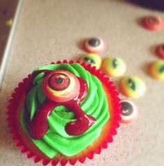 Raspberry vanilla cupcakes for a Halloween party...