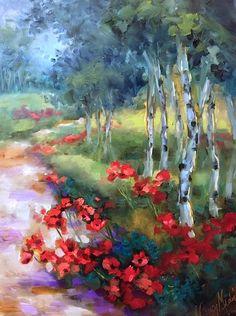 Artwork Pop-up - Open Sky Poppy Landscape Painting by Texas Artist Nancy Medina Cool Landscapes, Landscape Paintings, Poppy Flower Painting, Poppies Painting, Flower Paintings, Art Painting Gallery, Art Gallery, Flower Artists, Red Poppies