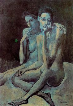 Pablo Picasso, Two Friends, c. When ever i hear someone tell me they don't like Picasso-I often show them this Kunst Picasso, Art Picasso, Picasso Blue, Picasso Paintings, Georges Braque, Cubist Movement, Kunst Online, Spanish Painters, Paul Gauguin