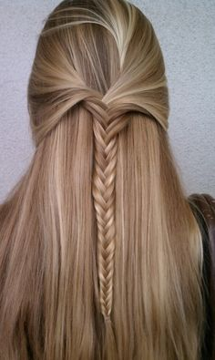 Here is a half up fishtail braid. It is easier to get it to look good down the back if you have someone help. Although the looser the better..... ~RS