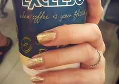 Gold nail and coffee
