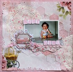 Precious Little Baby Girl -Kaisercraft - Pitter Patter Collection Little Baby Girl, Little Babies, Baby Boy, Baby Scrapbook, Scrapbook Cards, Color Spray, Paper Doilies, General Crafts, Scrapbooking Layouts