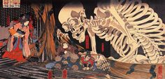Mitsukuni defying the skeleton spectre invoked by princess Takiyasha by Utagawa Kuniyoshi