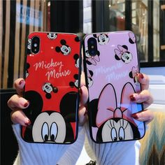 Cartoon Lovers Mickey Mouse Minnie Case for iPhone XS X 8 7 6 Soft Protect Cover Ipod Cases, Cute Phone Cases, Iphone Phone Cases, Iphone Case Covers, Friends Phone Case, Diy Phone Case, Mickey Mouse, Modelos Iphone, Iphone Price