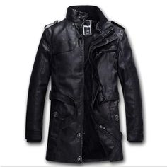 LKBEST 2017 Long PU Men Leather Jacket BLACK Thick Winter Jacket Men Warm Wool Liner Thick Biker Jacket Brand Overcoat (PY12)