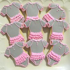 Baby Shower decorated Sugar cookie Tu Tu Onsies