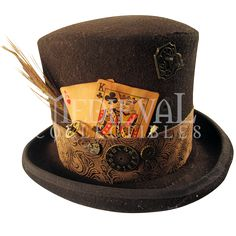 Steampunk Brown Bell Top Hat with brown embossed band, antiqued cards, clock parts, brown peacock feather and key. All our Steampunk hats are made with real clock and watch parts making each hat a unique work of art. Steampunk Cosplay, Steampunk Store, Steampunk Top Hat, Style Steampunk, Steampunk Design, Steampunk Wedding, Steampunk Clothing, Steampunk Fashion, Victorian Steampunk