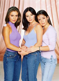 "The Halliwell sisters: Phoebe (Alyssa Milano), Prue (Shannen Doherty), and Piper (Holly Marie Combs), ""Charmed"""