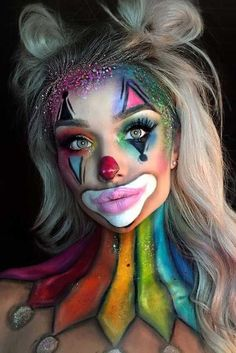 clown harley quinn joker rainbow halloween makeup inspo looks ideas inspiration . clown harley quinn joker rainbow halloween makeup inspo looks ideas inspiration idea Cool Halloween Makeup, Halloween Makeup Looks, Halloween Ideas, Easy Clown Makeup, Girl Clown Makeup, Chic Halloween, Halloween Photos, Women Halloween, Halloween City